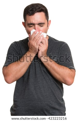 Portrait of a sick man coughing with the flu, allergy, germs,cold isolated on white background - stock photo