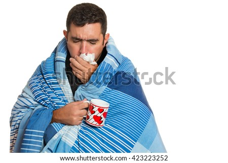 Portrait of a sick man with the flu, allergy, germs,cold coughing isolated on white background