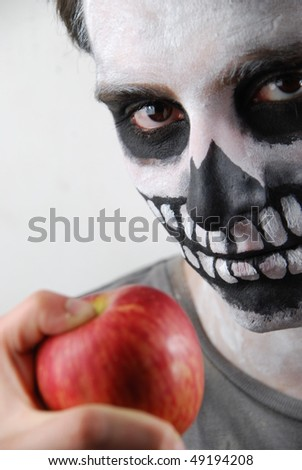 portrait of a skeleton guy as a subnutrition concept - stock photo