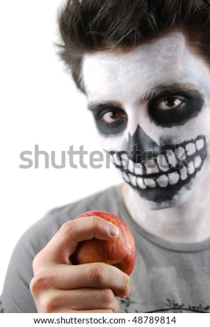 portrait of a skeleton guy as a subnutrition concept (isolated on white background) - stock photo