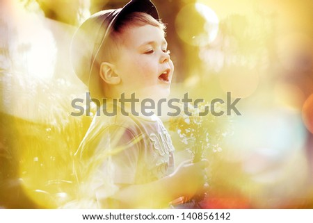 Portrait of a small kid - stock photo