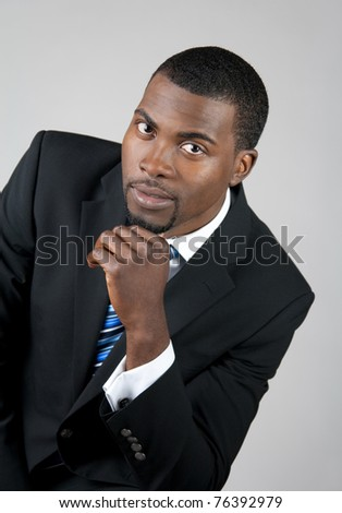 Portrait of a smart African American business man. - stock photo