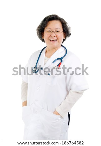 Portrait of a smart asian senior female doctor - stock photo