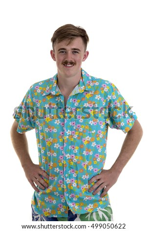 Portrait of a smiling american man in Hawaii shirt isolated on a white background and looking at camera