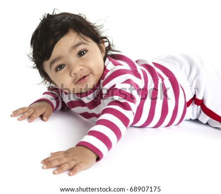 Portrait of a Smiling Baby Girl on Her Tummy, Isolated, White - stock photo