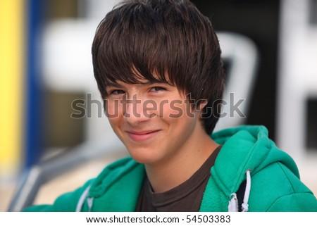 Portrait of a smiling boy - stock photo