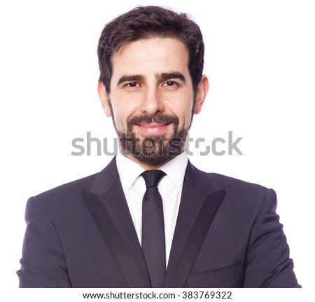 Portrait of a smiling business man, isolated on white background - stock photo