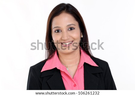 Portrait of a Smiling business woman against white background - stock photo
