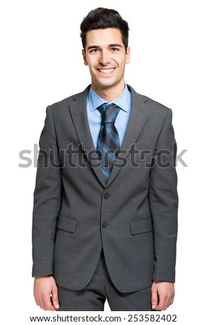 Portrait of a smiling businessman. Isolated on white