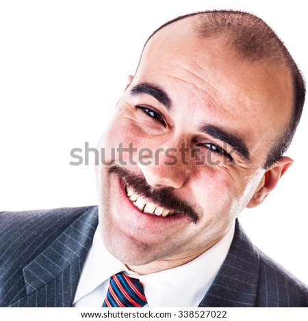 portrait of a smiling businessman isolated over a white background - stock photo