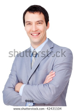 Portrait of a smiling businessman with folded arms isolated on a white background