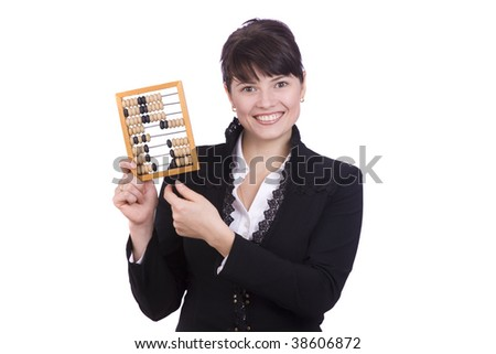 Portrait of a smiling businesswoman holding wooden abacus.  Young attractive girl use an abacus. - stock photo