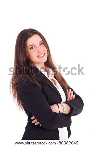 Portrait of a smiling businesswoman. Isolated on white. - stock photo