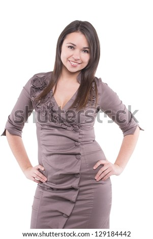 Portrait of a smiling charming young woman. Isolated over white. - stock photo