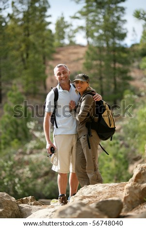 Portrait of a smiling couple of hikers