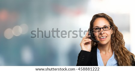 Portrait of a smiling customer representative, lots of copy-space
