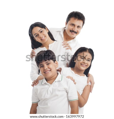 Portrait of a smiling family having fun - stock photo