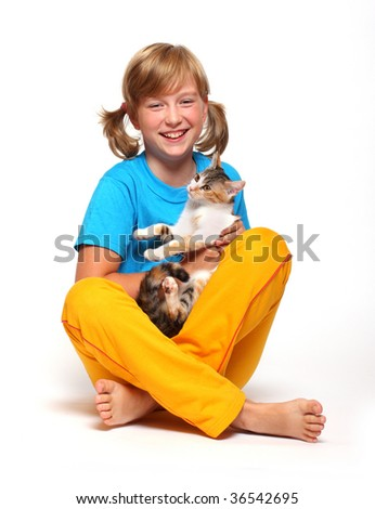 Portrait of a smiling girl with cat. - stock photo