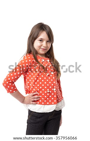 Portrait of a smiling  little girl over white background