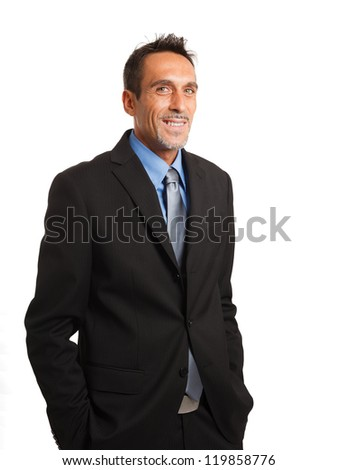 Portrait of a smiling mature businessman. Isolated on white