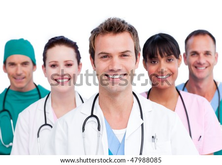 Portrait of a smiling medical team against a white background - stock photo