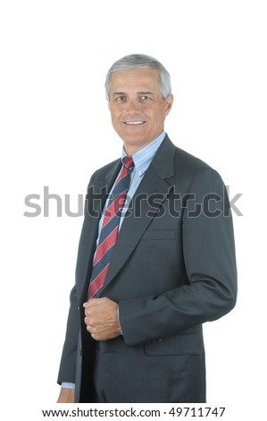 Portrait of a Smiling Middle aged businessman isolated over white