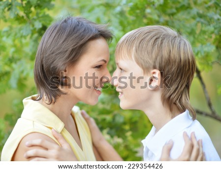 Portrait of a smiling mother and her son