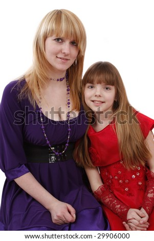 Portrait of a smiling mother and teenage daughter. Woman and girl. - stock photo