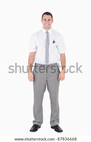 Portrait of a smiling office worker against a white background