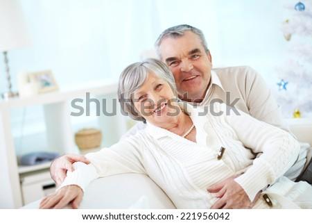 Portrait of a smiling senior couple - stock photo