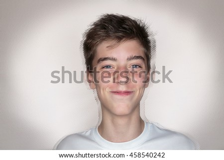 portrait of a smiling teenage boy with circular background - stock photo