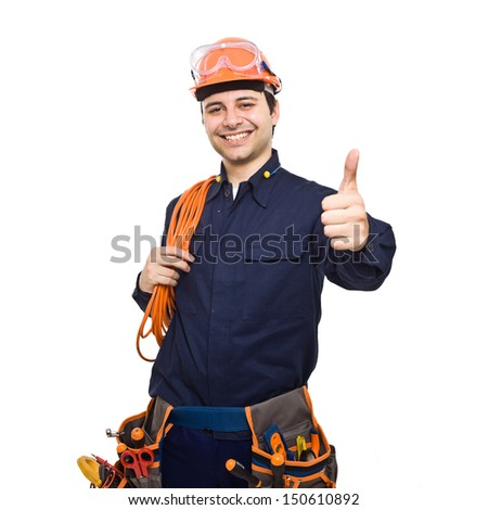 Portrait of a smiling worker. Isolated on white - stock photo