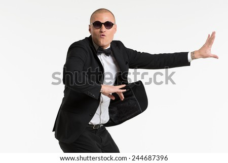 Portrait of a smiling young business man, isolated on white background - stock photo