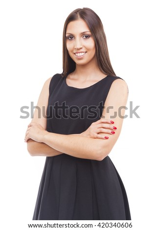 Portrait of a smiling young business woman, isolated on white background - stock photo