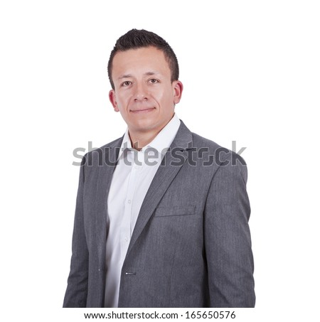 Portrait of a smiling young businessman isolated on white background