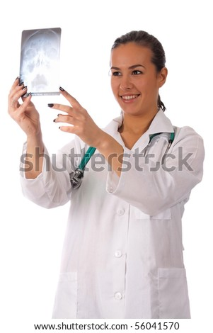 Portrait of a smiling young doctor standing over white background