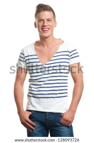 Portrait of a smiling young man isolated on white - stock photo