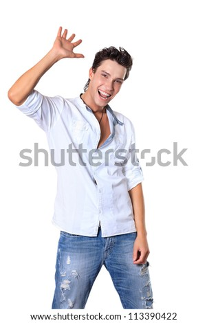Portrait of a smiling young man. Isolated over white background. - stock photo