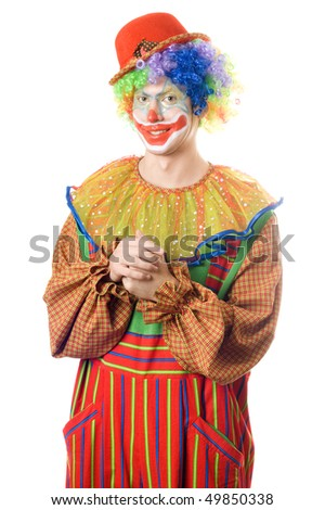 Portrait of a smirking clown. Isolated on white