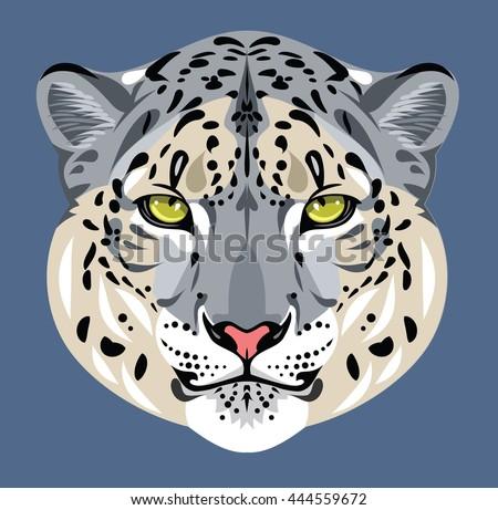 Portrait of a snow leopard - stock photo