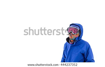 Portrait of a snowboarder isolated in sunglasses mask at snow storm - stock photo