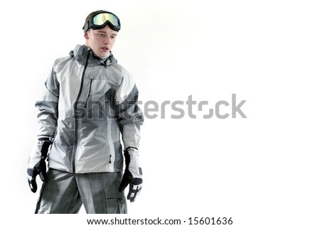 Portrait of a snowboarder, isolated on white - stock photo