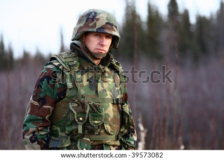 portrait of a soldier - stock photo