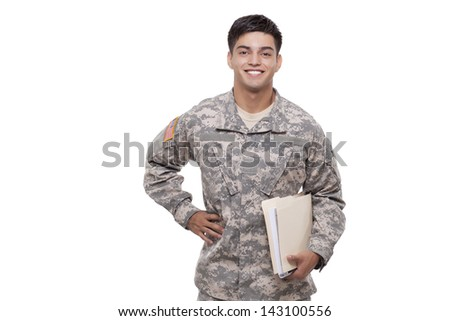 Portrait of a soldier with documents against white  - stock photo