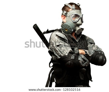 Portrait Of A Soldier With Gas Mask against a white background