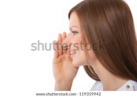 Portrait of a speaking young woman, on white background - stock photo