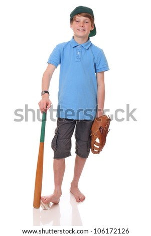 Portrait of a standing young baseball player on white background - stock photo