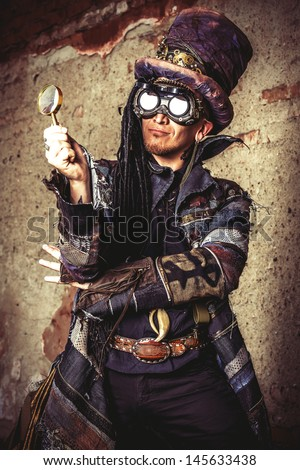 portrait steampunk man ruins stock photo royalty free