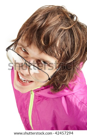 Portrait of a strange guy in glasses in a colorful jumpsuit - stock photo