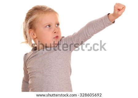 Portrait of a strong young girl on white background - stock photo